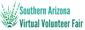 The Southern Arizona Virtual Volunteer Fair logo in green letters with an aloe at the right.