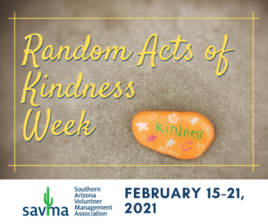 Random Acts of Kindness Week graphic shows a yellow rock with the word Kindness painted on it.